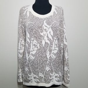 60's Retro Alberoy Sweater Cream Floral Long Small